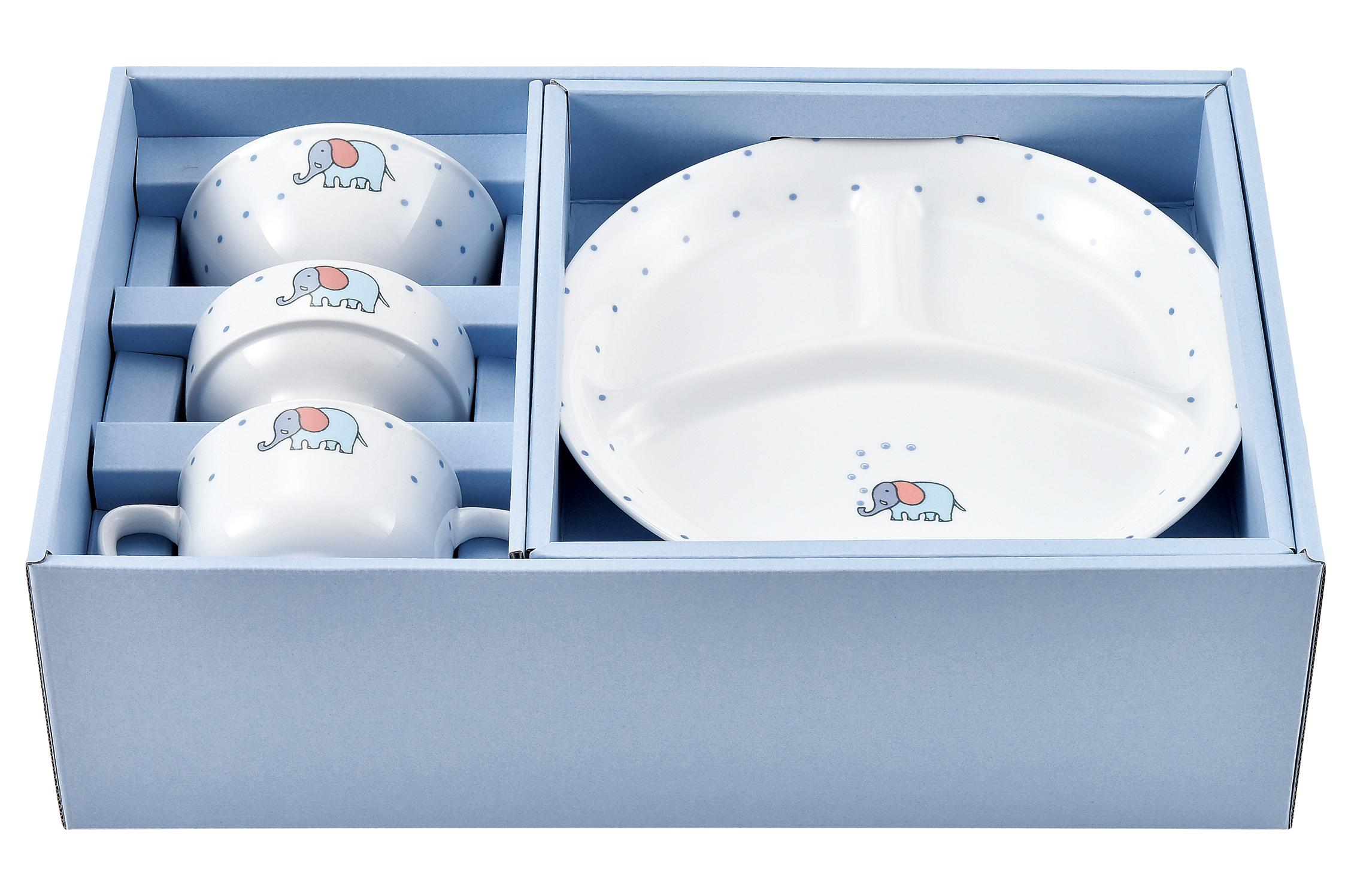 ぷくぷくぞうさん世界一安全な食器セット アイスブルー ギフトセット